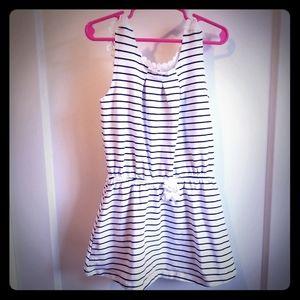 Girls' white & black striped tank dress Sz5-6